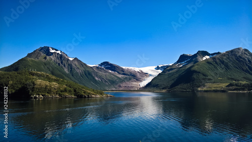 Leinwanddruck Bild Panorama view to Nordfjorden and Svartisen glacier, Meloy, Norway