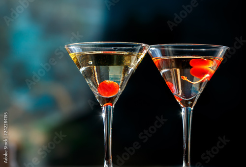 Glasses of champagne with cherries