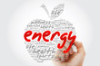 Quadro ENERGY apple word cloud with marker, health concept background