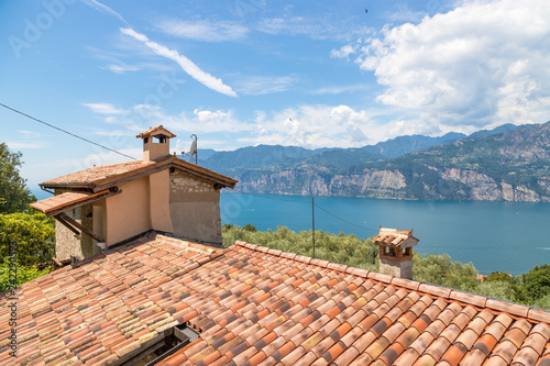 Roof of an Italian house, red shingles