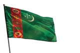 Fluttering Turkmenistan flag on clear white background isolated. - 242291933