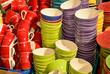 canvas print picture - Farbige Keramikschuesseln zum Verkauf