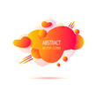 Abstract  shape cloud splash stain liquid with gradients,  lines, dots, circles in orange acid colors for trend modern style on template banner poster or for  web site internet presentation