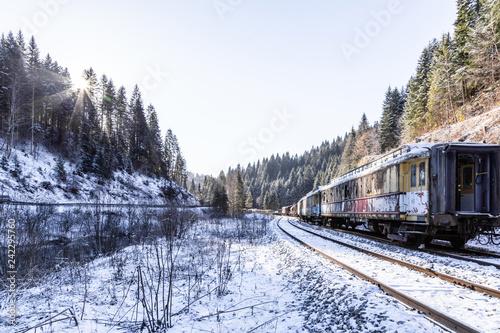 Train. Hills. Rusty. Snow. Winter. Forest