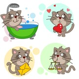 A set of icons with the image of a cat for children and a dasein, the cat washes under a shower in the bathroom, stands in love with a heart, holding a letter in his hands, the judge with the scales o