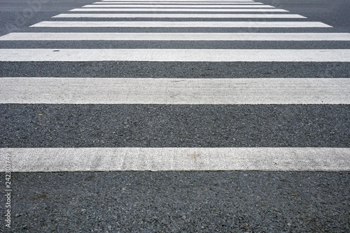 Cross walk in Black and white on road - 242303749