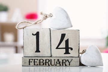 Valentine's Day concept theme with wooden block calendar