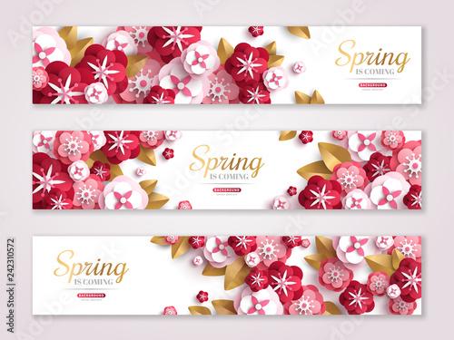 Vintage spring horizontal banners