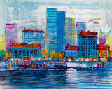 Abstract painting of urban skyscrapers. - 242311775