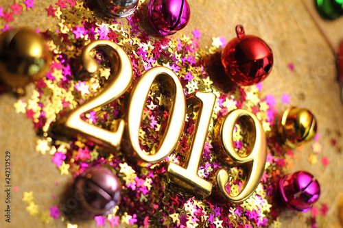 Gold 2019 and colorful decoration.