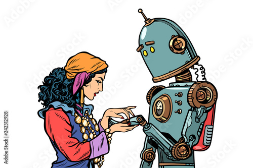 A Gypsy telling fortunes by the hand. The robot wants to know ab