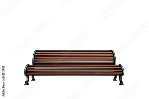 Park bench isolate on white background