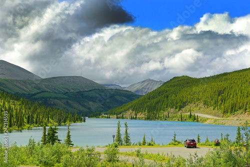 Summit Lake, Stone Mountain Provincial Park of British Columbia on the Alaska Highway, Northern Rockies, Canada - 242314593