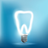 Implant human tooth as a light bulb. Vector illustration. - 242315777