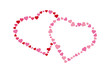 Pink and red intertwined valentines made from small hearts on white background
