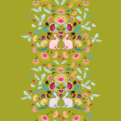 Green folk art floral horizontal border with rabbit. Surface pattern design.