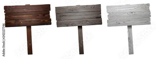 Leinwandbild Motiv Set of wooden signs, isolated on white background