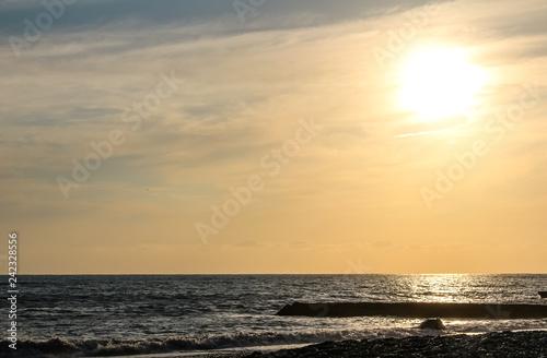 Beautiful sunset on the sea. - 242328556