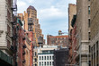 View of the old buildings and water towers in the Tribeca neighborhood of Manhattan, New York City