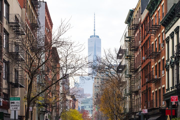 New York City street scene on Thompson St. in the SoHo neighborhood of Manhattan NYC