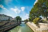 Seine river passing by Ile de la Cite in Paris