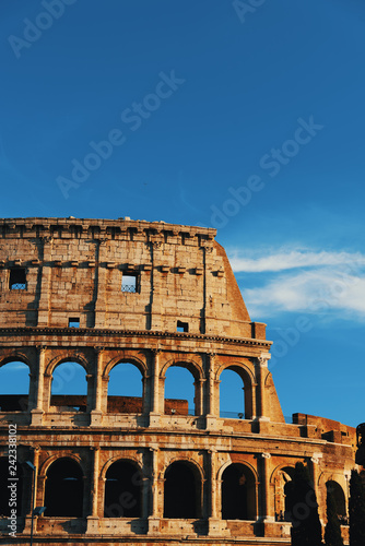 Detail of world famous Coliseum at sunset