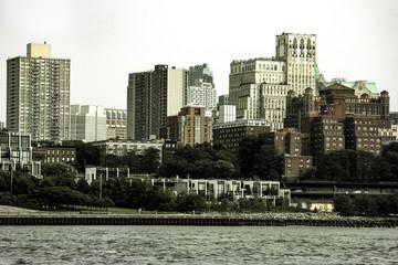 New York, USA - September 2, 2018: Brooklyn houses at sunset, New York, USA.