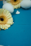 Weiße Eier auf blauem Hintergrund