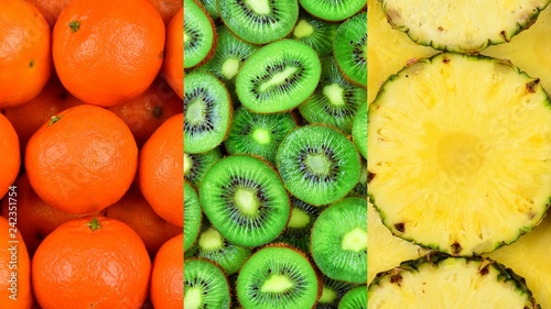 Collection with different fruits, pineapple, mandarin, kiwi fruit.