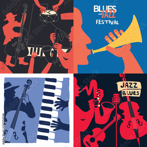Set of music cards and banners. Music cards with instruments flat vector illustration design. Jazz music festival banners. Colorful jazz concert posters, party flyers, brochures © abstract
