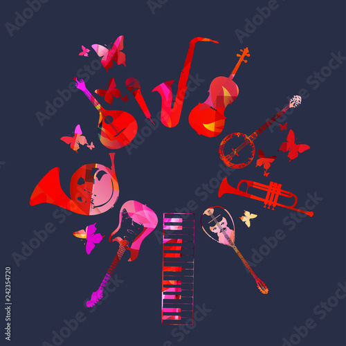 Music festival poster with violoncello, banjo, trumpet, bouzouki, piano, guitar, french horn, portuguese guitar, microphone and saxophone vector illustration. Music instruments background, party flyer © abstract