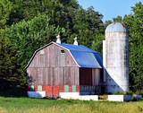 old red barn and barn - 242357989