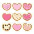 Pink cute Saint Valentine Heart shape white chocolate and strawberry icing cookies