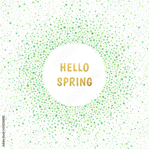 Spring or easter round frame. Dots frame with empty space for your text. Frame made of green spots of various size. Circle shape. Shades of green nature, eco abstract background.