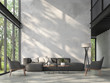 Leinwanddruck Bild - High ceiling loft living room 3d render.There are white brick wall,polished concrete floor and black steel structure,There are large windows look out to see the nature,sunlight shining into the room.