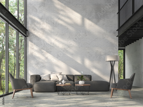 Leinwanddruck Bild High ceiling loft living room 3d render.There are white brick wall,polished concrete floor and black steel structure,There are large windows look out to see the nature,sunlight shining into the room.