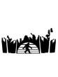 urlaub sonne insel palmen ferien paradies meer bigfoot silhouette comic yeti monster cartoon affe groß fabeltier schnee weiß menschenaffe lustig riese berge winter clipart design