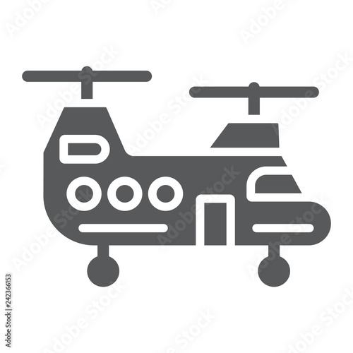 Military helicopter glyph icon, military and vehicle, chopper sign, vector graphics, a solid pattern on a white background.