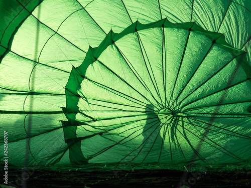 Inside of a green hot air balloon
