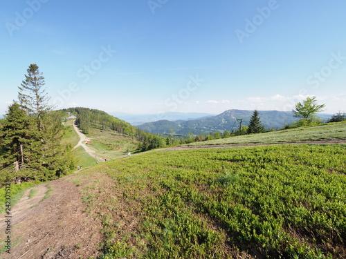Peaceful view of Klimczok mount in Silesian Beskids Mountains range landscape near european Bielsko-Biala city, Poland