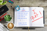 I quit, text written by stressed employee on personal agenda after a hard day