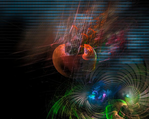 Fractal digital abstract, fantasy design, disco
