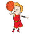 cartoon boy playing basketball - shade - 242386176