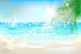 View of the sunny beach with a palm tree. Vector Illustration. - 242387524
