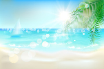 View of the sunny beach with a palm tree. Vector Illustration. © silvae