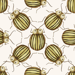 Seamless vector pattern vith cute 3d insect.