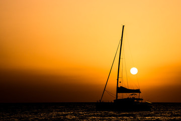Sail Boat Silhouette  at Sunset © underworld