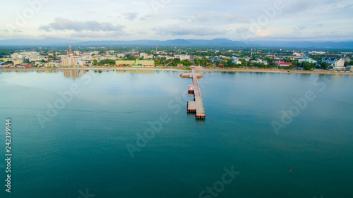 high angle view of prachuap khiri khan harbor southern of thailand