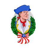 Retro watercolor style illustration of an American patriot or revolutionary soldier wearing tricorn or tricorn hat with olive leaf wreath and USA stars and stripes ribbon on isolated background. - 242402721
