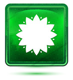 Leafy flower icon neon light green square button - 242411705